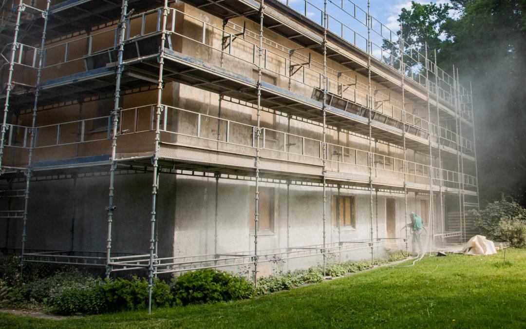 Fasadblästering av puts, mur och trä